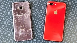 Samsung Galaxy S8 Plus vs iPhone 7 Plus Drop Test!
