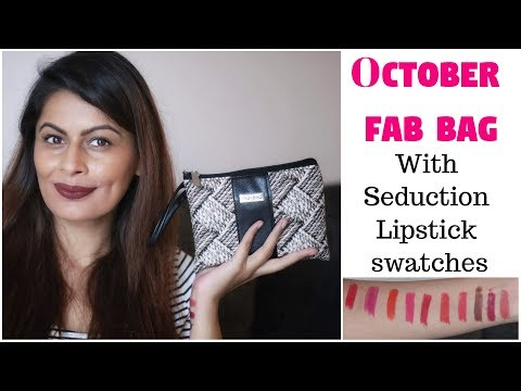 Fab Bag October 2018 with Seduction Lipstick's Swatches | 14 Products | Unboxing | Review | Kavya K