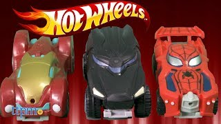 Hot Wheels Flip Fighters Hulk, Spider-Man, Black Panther, and Iron Man from Mattel
