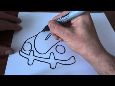 how to draw a Volkswagen Beetle for children