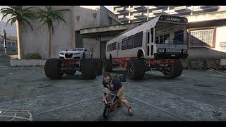 GTA 5 PC MODS - Monster Bus & Adder w/Pocket Bike & Challenge Course