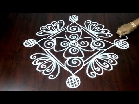 Freehand Rangoli Design || Easy And Quick Freehand Rangoli  Kolam Design || Fashion World