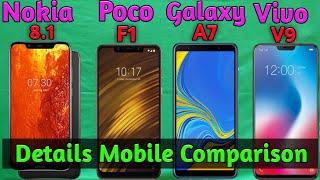 Nokia 8.1 VS Foco F1 VS Samsung Galaxy A7 VS Vivo V9 Details Comparison, Which One Best,