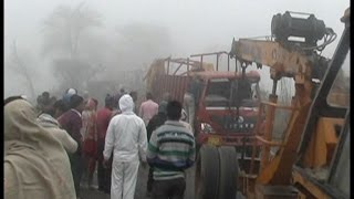 High speed truck transporting cows had accident on charkhi dadri, 1 died!