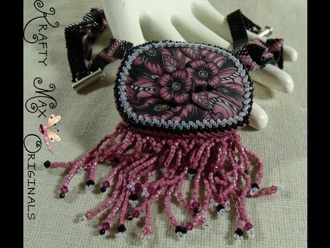 Pink and Grey Beadwoven Set with Kimis Jewelry from the Heart
