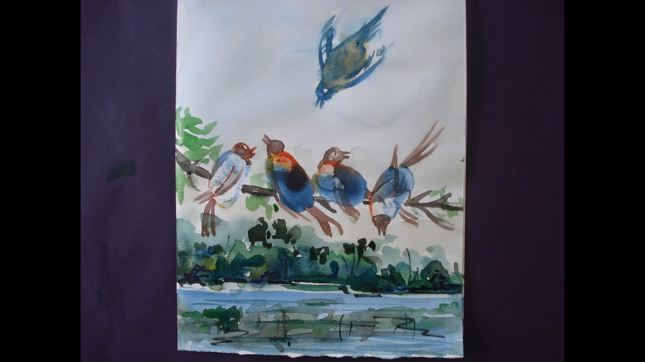 Bird Scenery Drawing How to Draw Birds Painting