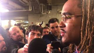Jalen Hurts talks to media following Mississippi State