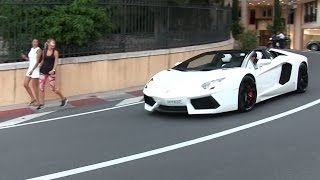 Lamborghini Aventador Roadster w/ iPE exhaust in Monaco | LOUD sound + Revs + Chickmagnet