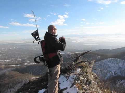 Попытка спуска на сноубордах с горы Бештау (КМВ).