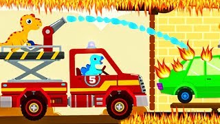 Dinosaur Game : Fire Truck Rescue FOR KIDS | Videos For Kids