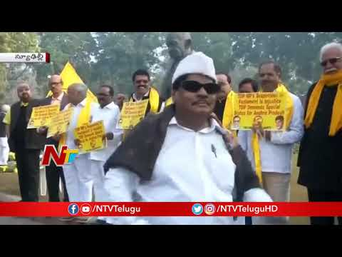 TDP MPs protests at Parliament | wants Andhra Pradesh special status  | NTV Politics