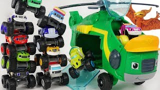 Blaze and the Monster Machines Monster Copter Swoops! Defeat PJ Masks Romeo, dinosaur! #DuDuPopTOY