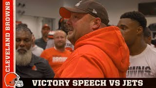 Freddie Kitchens Victory Speech After Defeating Jets in Week 2 | Cleveland Browns