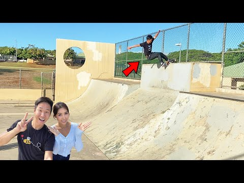VERTICAL WALLRIDE HURRICANE TO FAKIE - Skating Hawaii's Most Unique Skatepark Obstacle
