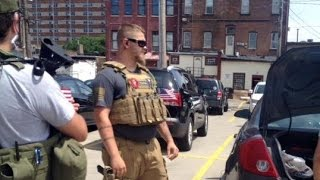 Open Carry Marchers outside Cleveland RNC