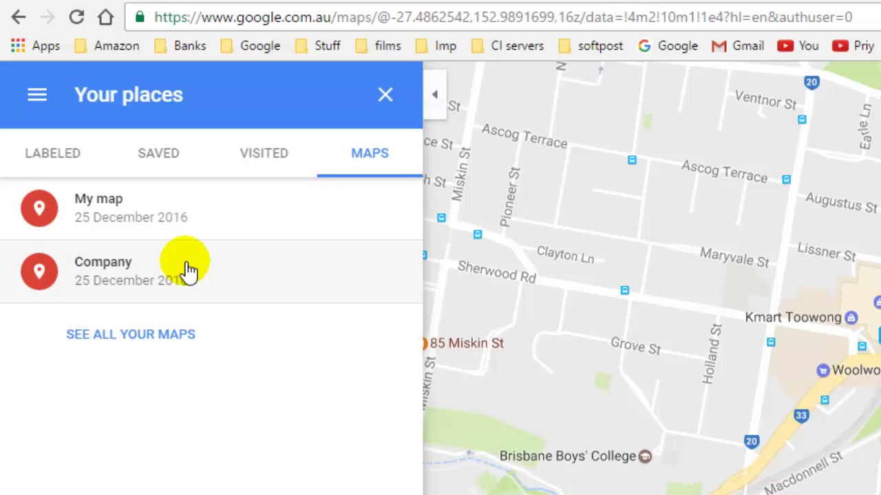 How To Delete My Maps In Google Maps Youtube