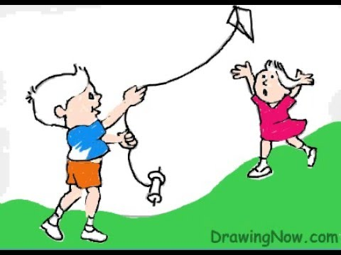 Fly Baby Drawings How to Draw Kids Flying a Kite