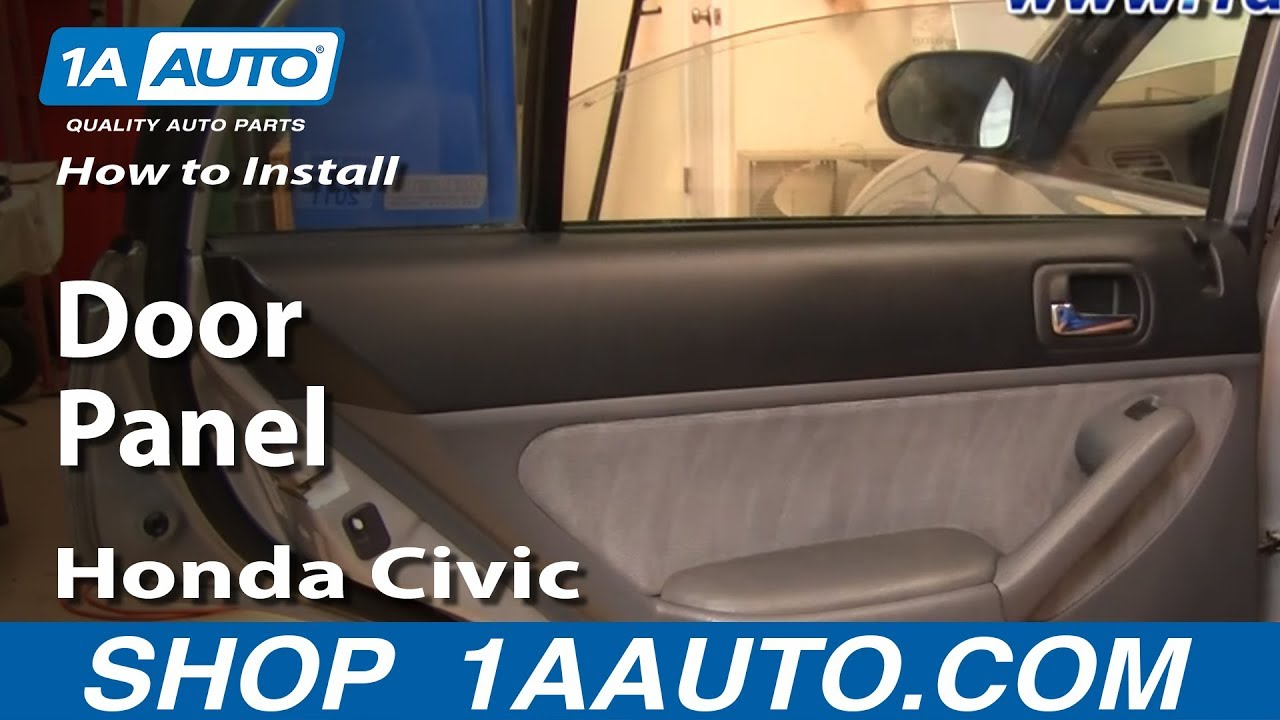 How to Install Replace Remove Rear Door Panel Honda Civic 01-05 1AAuto.com - YouTube