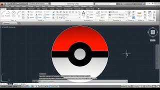 HOW TO DRAW A POKEBALL IN AUTOCAD | COMO DIBUJAR UNA POKEBOLA EN AUTOCAD