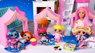 Barbie Doll LOL Family   Baby Goldie  First Slumber Party in the New Barbie House!