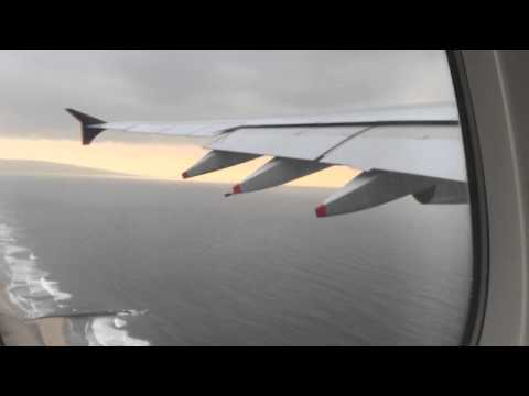 SQ11 Airbus A380-800 take off from Los Angeles International Airport