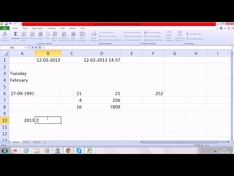 Free learn MS-Office 2010 date & time formulas in excel in  hindi