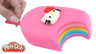 Play Doh How to Make a Hello Kitty Rainbow Ice Cream Popsicle DIY RainbowLearning