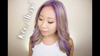 Asian Dark Hair to Blonde Purple at Monaco Salon Tampa FL