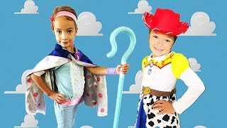 WE woke up as BO PEEP & JESSIE from Toy STORY 4!   rescue the TOYS!