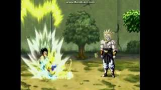 Mugen:Goku SSJ4 and Vegeta SSJ4 VS Broly SSJ4