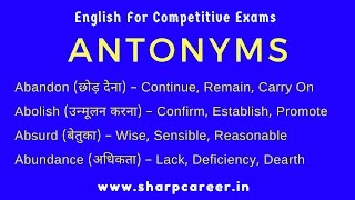 English For Competitive Exams -Antonyms mean & Sentences|English short tricks for competitive exams