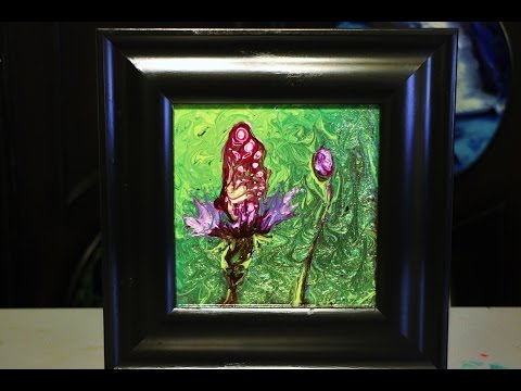 Butterfly on a Flower - Fluid Painting Technique - Nail Polish and a Feather