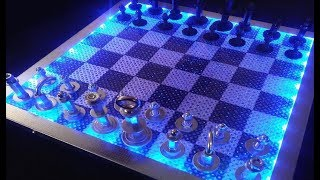 RGB LED LIGHT Chess Board-Epoxy Resin & Wood, Nuts & Bolts Chess -DIY