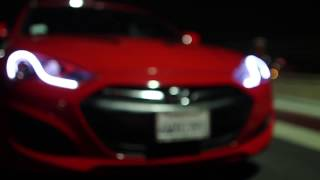 2013+ Genesis Coupe Quad BiXenon Color Matched Headlights with RGB Angel Eyes