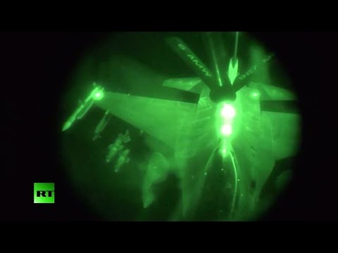 Aerial footage:  F-16 refuels during night strikes on Syria