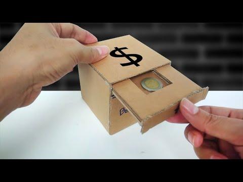 วิธีทำออมสินกินเหรียญ จากลังกระดาษ (How to Make Coin Bank Box from Cardboard)