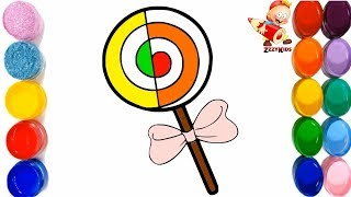 Learn Colours for Children & Toddlers - Kids Lollipop Coloring and Drawing