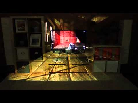 IllumiRoom: Peripheral Projected Illusions for Interactive Experiences