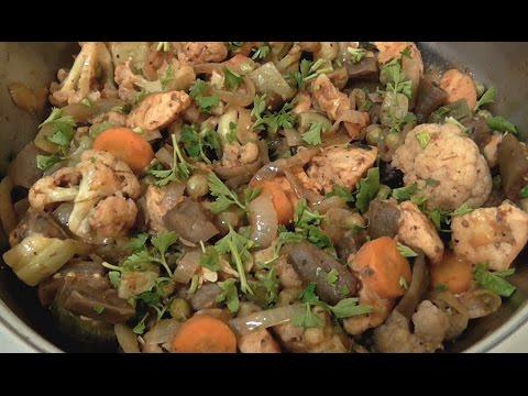Быстрый рецепт рагу Вкусный ужин Овощное рагу с курицей на сковородке