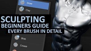 Sculpting in Blender 2.8 | Beginners Detailed Guide | Every Brush