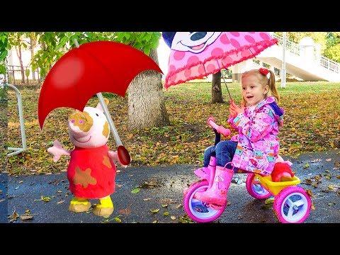 Игрушечная Пеппа Свинка и Настя в парке Rain Rain go away song and Jamping toy's Peppa Pig in park
