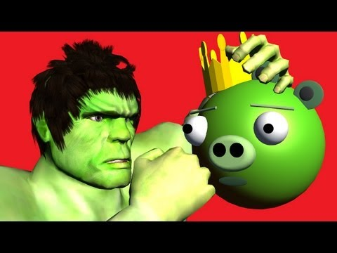 HULK vs. Angry Birds Bad Piggies ♫ 3D animated  game mashup ☺ FunVideoTV - Style ;-))
