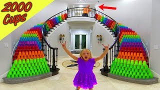 Pranking Our Dad!!! 2,000 Plastic Cups Down the Stairs!