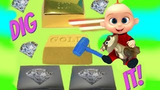 The Incredibles 2 Movie Elastigirl & Jack Jack Find Gold Silver Dig Its