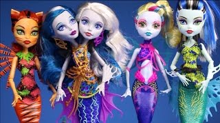 New Monster High Dolls Collection 2015 Video Great Scarrier Reef 4 Dolls Unboxing Review