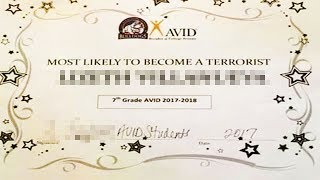 Terrorist Award Given To Middle-Schooler