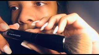 "ASMR UP CLOSE repeating the phrase ""go to sleep"" + face brushing + pinching & pulling + tapping"