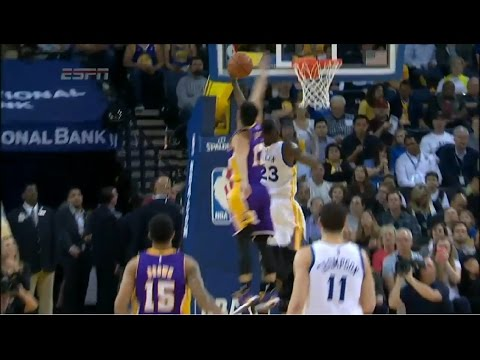 Jeremy Lin Amazing block to Draymond Green | Lakers vs Warriors | March 16, 2015 | NBA