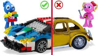 लेगो बीटल कार बनाता है - गति कार्टून बंद करो एनीमेशन