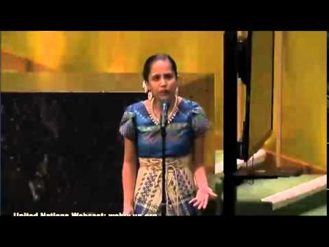 Marshallese poet Kathy Jetnil-Kijiner speaking at the UN Climate Leaders Summit in 2014